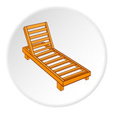 Wooden chaise lounge icon, cartoon style Royalty Free Stock Photos