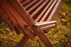 Wooden chaise lounge. Texture of wooden chaise lounge . image was made in the park Stock Image