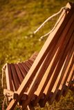 Wooden chaise lounge. Texture of wooden chaise lounge . image was made in the park Royalty Free Stock Photography