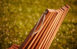 Wooden chaise lounge. Texture of wooden chaise lounge . image was made in the park Royalty Free Stock Image
