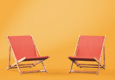 Wooden chaise lounges on orange background. 3d rendering Royalty Free Stock Image