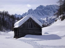 Wooden chalet. In devero during winter Stock Photos