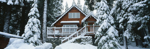 Wooden chalet stock image