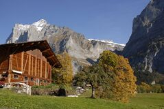 Wooden chalet in the Alps Royalty Free Stock Photos