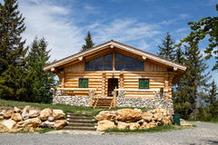 Wooden chalet. Beautiful wooden chalet in Charpathian mountain, Romania royalty free stock photography