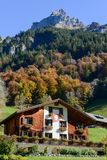 Wooden chalet at Engelberg on the Swiss alps. Engelberg, Switzerland - 15 October 2017: wooden chalet at Engelberg on the Swiss alps Stock Images