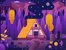Wooden Chalet House in Forest. Mountain lodge by night. Traditional swiss chalet with straw roof at highland on national park. Summer adventure scene with wooden royalty free illustration