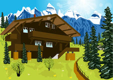 Wooden chalet in mountain alps at rural summer landscape. Illustration of wooden chalet in mountain alps at rural summer landscape Stock Photo
