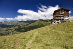 Wooden chalet in the Val Ayas, Italy Royalty Free Stock Photo