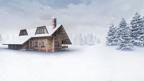 Wooden chalet at winter landscape with trees Stock Images