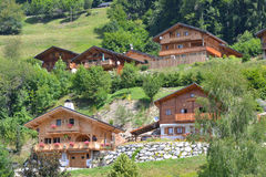 Wooden Chalets/Lodge in On Alpine Mountain Royalty Free Stock Image
