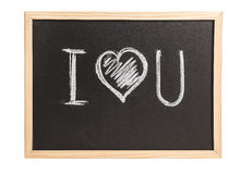 Wooden chalkboard with I love you note Royalty Free Stock Photo