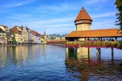 Wooden Chapel bridge in Lucerne old town, Switzerland Stock Images