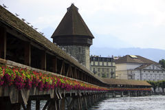 Wooden Chapel Bridge in Lucerne Royalty Free Stock Images