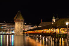 Wooden Chapel bridge and old town of Lucerne, Switzerland Royalty Free Stock Photos