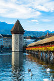 Wooden Chapel bridge and old town of Lucerne, Switzerland Royalty Free Stock Images