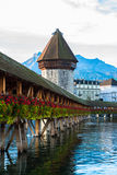 Wooden Chapel bridge and old town of Lucerne, Switzerland Stock Photo