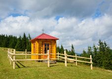 Wooden chapel in the Carpathian Mountains. Stock Photography