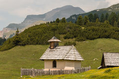 Wooden chapel in Dolomites, South Tyrol Stock Image