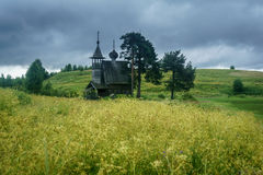 Wooden chapel in the field Royalty Free Stock Photography