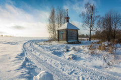 Wooden chapel of the Holy source of the Tikhvin icon of the Moth Stock Photos