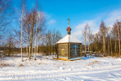 Wooden chapel of the Holy source of the Tikhvin icon of the Moth Royalty Free Stock Photos