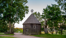 Wooden chapel on a hill. Wooden chapel on Kernave mound, ancient Lithuanian place royalty free stock image