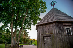 Wooden chapel on Kernave mound. Ancient Lithuanian place Stock Image