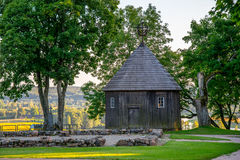 Wooden chapel on Kernave mound. Ancient Lithuanian place Stock Photos