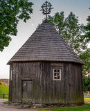 Wooden chapel on Kernave mound. Ancient Lithuanian place Royalty Free Stock Image