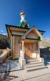 Wooden chapel. Russia. White mountain Stock Photography