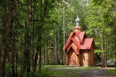 Wooden chapel in the wood Royalty Free Stock Photo
