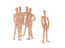 Wooden characters scene - behind discussion Stock Photo