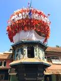 Wooden chariots with flags and paintings of hindu gods in Gokarna, Karnataka, India Royalty Free Stock Photo