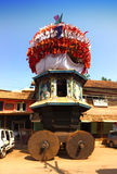 Wooden chariots with flags and paintings of hindu gods in Gokarna, Karnataka, Royalty Free Stock Photos