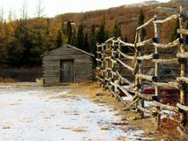 Wooden charnel-house at the cemetery in Kuujjuaq stock photos