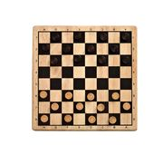 Wooden checkerboard with checkers spaced isolated on white royalty free stock photography