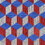Wooden checkered pattern - seamless background - red-blue USA Colors Stock Photo