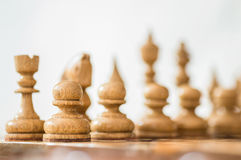 Wooden chess background. Stock Photos