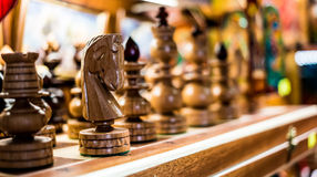 Wooden chess on board Stock Photos