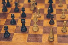 A wooden chess board royalty free stock image