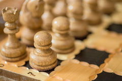 Wooden chess board. Royalty Free Stock Images