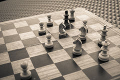 Wooden Chess board Business strategy idea concept background. Vi Royalty Free Stock Photo