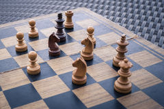 Wooden Chess board Business strategy idea concept background. Vi Royalty Free Stock Images