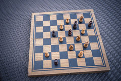 Wooden Chess board Business strategy idea concept background. Vi Stock Photos