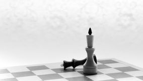 Wooden chess board and chess piece black silhouette Stock Photos