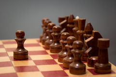 Wooden chess board and chessmen in black on a gray background Stock Photography