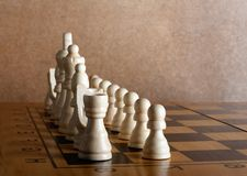 Wooden chess board with figures Royalty Free Stock Photos