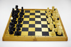 Wooden chess board game Royalty Free Stock Image
