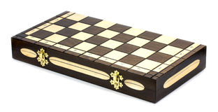 Wooden chess board  on white background. Stock Photos